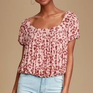 Free People Pink Leopard Print Top